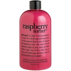 Philosophy Raspberry Sorbet Shower Gel 16oz ($12) ❤ liked on Polyvore featuring beauty products, bath & body products, body cleansers, fillers, beauty, makeup, pink fillers, accessories, no color and bubble bath