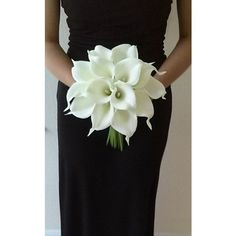 White Calla Lily Bridal Bouquet with Calla Lily Boutonniere-Real Touch... ❤ liked on Polyvore featuring home, home decor, floral decor, white fake flowers, white calla lily bouquet, white artificial flowers, silk calla lily bouquet and white silk flowers