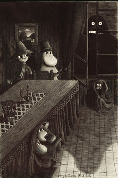 'Visit from the Groke' by Tove Jansson. Moomin Valley, Tove Jansson, Cartoon Shows, Children's Book Illustration, Troll, Creepy, Fairy Tales, Sketches, Drawings