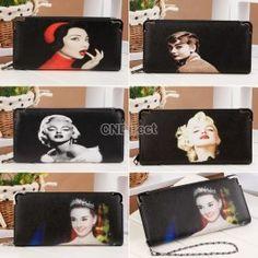 New Fashion European Style Portrait Pattern Women Lady Zip Design Purse Long Wallet