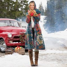 We can't wait for winter to end and summer to start which = more skin which = more of our temporary tattoos! But even in winter we can create that Boho festival fashion vibe  #snow #coat #bohostyle #bohofashion #vintagecar #redcar #winterfashion #embroideredjacket #jacquard