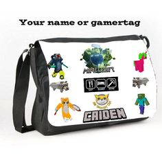 Custom Printed Messenger School College Bag Stampy Cat  Add a Name Gamertag Or a Picture of your choosing by DaisyMoosUK on Etsy