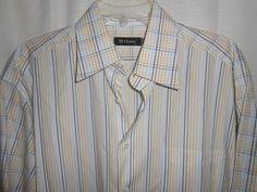 ST. CROIX Button Up Shirt - Men Size XL XLarge-Multi-Color Stripe/Plaid-Long Slv #StCroix