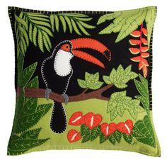 Design Black & Orange Tropical Toucan Cushion | Jan Constantine