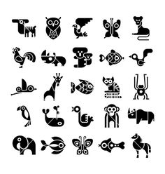 Black and white isolated animal icons vector on vectorstock logo in 2019 гр Tatoo Naruto, Icon Design, Logo Design, Tattoo Filler, Black And White Art Drawing, Vegetable Prints, Animal Logo, Tattoo Fonts, Grafik Design