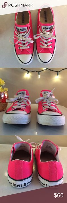 PINK Converse. Hot Pink Converse! Barely worn and in great shape! Price is Firm :) Converse Shoes