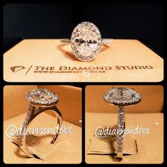 Oval cut with halo and a thin diamond band! Love how the sides of the band come up to meet the diamond in a high setting!