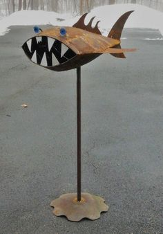 Found object welded garden art fish Terrible by SwimminwitdaFishes
