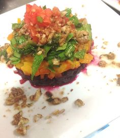 Here's another new addition to the Leo Bistro summer salads, the Beet and Goat Cheese Salad: a blend of Baby Spinach and Spring Mix tossed in your favorite dressing and topped with a tower of Roasted Red Beets, Roasted Yellow Beets and Baby Arugula accompanied by chopped Pistachios and Fried Goat Cheese Rounds. Recommended with the Sherry Orange Balsamic Dressing! See the Bistro's full menu at www.daytonartinstitute.org/leobistro. Fried Goat Cheese, Beet And Goat Cheese, Goat Cheese Salad, Roasted Yellow Beets, Red Beets, Baby Arugula, Baby Spinach, The Bistro, Spring Mix