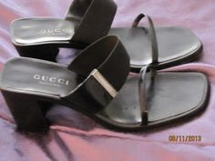 GUCCI Italy Black Leather Strappy Heels Shoes Silver Logo AUTHENTIC