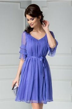 Rochie Ginette Aliz lila din matase naturala Blouses For Women, Cold Shoulder Dress, Formal, Casual, Hair, Photography, Clothes, Dresses, Style
