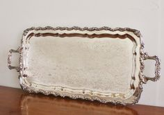 Large vintage silver plated footed rectangular serving tray