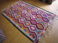 Old Handmade Kilim 7'9 x 5'5 feet 237 x by negrahandicraft on Etsy
