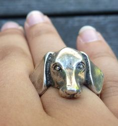 Sterling Silver Dachshund Head Ring by MorganFischerJewelry, $75.00