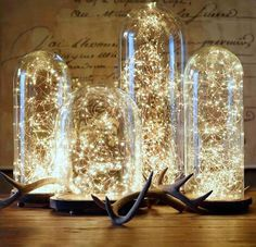 French Glass Cloche and Starry string lights from Restoration Hardware. These would be beautiful centre pieces or ceremony decor perfect for creating a glowy romantic feeling and you can use them after your wedding. Diy Christmas Decorations, Christmas Lights, Christmas Fairy, Holiday Lights, Merry Christmas, Christmas Lamp, Office Christmas, Rustic Christmas, Christmas Wedding