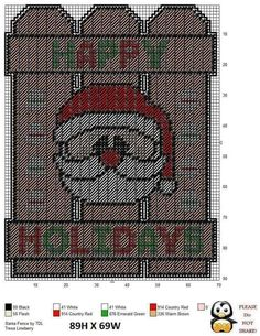 Santa Claus Happy Holidays Fence Plastic Canvas Ornaments, Plastic Canvas Crafts, Plastic Canvas Patterns, Christmas Wall Hangings, Plastic Canvas Christmas, Canvas Designs, Canvas Ideas, Crochet Cross, Tissue Box Covers
