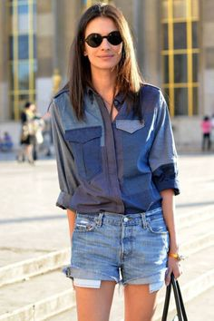 """Double denim – or mix and match separate denim pieces in one outfit (also known as """"denim on denim"""") – is a trend of fashion that continues, season after season. We love denim on denim as a stylish choice to… Continue Reading → Double Denim, Denim Outfits, Cute Outfits, Mix Jeans, Denim Jeans, Denim Shirts, Denim Blouse, Leila Yavari, Jumpsuit Denim"""