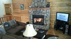"""""""Bear Paws"""" vacation rental home Deep Creek Lake  main level living room area with gas fireplace"""