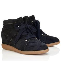 Isabel Marant Étoile Suede Bobby Wedge Sneakers Noir