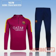 Top Quality:New Fashion Kids Barcelona FC 2016 2017 Scarlet Tracksuit Personalised Customised