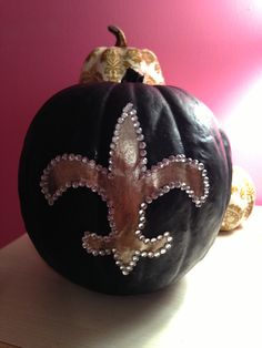 New Orleans Saints pumpkin with some bling!