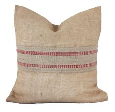 Free U.S. Shipping - Natural Burlap with a Red Jute Webbing Band, Pillow Cover, Decorative Throw Pillow ONE 16x16 inch