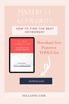 Pinterest account optimization with the best keywords is the most important thing (and the FIRST one) to do when you start using your Pinterest account strategically. Read my best tips and download your free (updated 2019) tools list: www.nellaino.com/blog #nellaino #pinteresttips #keywords #pinterestseo #pinterestsearch Social Media Marketing Business, Marketing Tools, Social Media Tips, Content Marketing, Online Marketing, Marketing Strategies, Wordpress, Business Tips, Creative Business