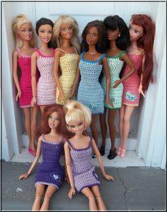 Crochet Barbie Clothes Spaghetti Strap Mini Dress with Applique -- CHOOSE YOUR COLOR