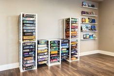 Board game shelves are here. Ditch the bookcase with a modular customizable stylish way to store your board games. Expedit Bookcase, Ikea Billy Bookcase, Bookcase Storage, Shelving, Toy Storage, Solid Wood Bookshelf, Vintage Bookshelf, Wood Bookshelves, Book Shelves