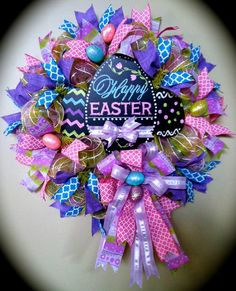 Easter Wreaths Spring Wreaths Deco Mesh Wreath by WreathyWoman