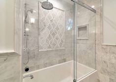 Artistic Tile I Shower Wall Inset Panel : Claridges Mosaic in Bianco Carrara and Mother of Pearl I Bath in Fort Lee N.J. I Construction by Bodee Construction I Artistic Tile Design Associate: Megan Collister