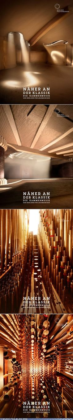 Ad campaign for the Berlin Philharmonic utilizing vantage points of a cello and an organ