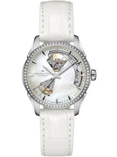 Hamilton Jazzmaster, Glas Art, Beautiful Inside And Out, Cut Out Design, Delicate Rings, Automatic Watch, Diamond Heart, Beautiful Moments, White Leather