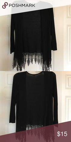 Black cardigan Very cute and stylish cardigan with design across bottom. Only worn once. Great fit. Charlotte Russe Sweaters Cardigans