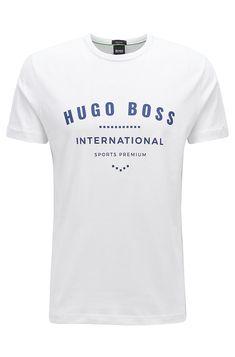 BOSS - Crew-neck T-shirt in cotton with metallic artwork Casual T Shirts, Cool Shirts, Tee Shirts, Design T Shirt, Shirt Designs, Personalized T Shirts, Shirt Outfit, Hugo Boss, Neck T Shirt