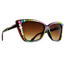 BLING BABY! Multicolored rhinestone cat eye sunglasses available at www.bulletboutfits.com!
