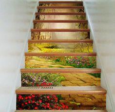 3D garden 355 Stair Risers Decoration Photo Mural Vinyl Decal Wallpaper AU