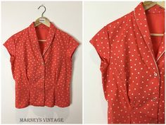 Vintage 1950s Top - 50s Red Cotton Polka Dot Blouse - Cap Sleeve Shirt - Button Down Fitted Blouse - Pinup Rockabilly - UK 12 -  Medium - by Marneys on Etsy
