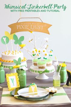 Whimsical Tinkerbell Party with FREE Printables and a Tutorial to make those cute flower cupcake toppers! 4th Birthday Parties, Birthday Ideas, 3rd Birthday, Tinkerbell Party, Fairy Birthday, Puppy Party, Party Centerpieces, Party Gifts, Holiday Parties