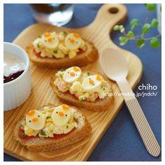 チーズのせハム卵サラダのオープンサンド♡|かわいいおべんとう。 {C916403C-BC9F-49E0-9600-39B92DD84CFA:01}
