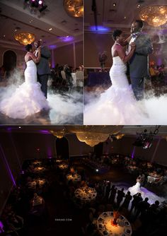 Piazza in the Village Colleyville TX ballroom - bride and groom first dance with fog at their reception photo by Vanja D Photography www.vanjad.com