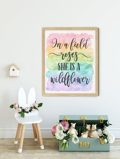 In a Field of Roses She is a Wildflower, Girls Nursery Printable Wall Art by LilaPrints. Baby Girl Nursery Decor, Baby Shower Gift, Girls Room Wall Art #scriptureprints #homedecorating #art #bedroomdecor