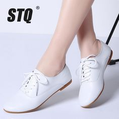 STQ 2018 Spring women oxford shoes ballerina flats shoes women genuine leather shoes moccasins lace up loafers white shoes 051 Women's Shoes, Oxford Shoes Outfit, Women Oxford Shoes, Shoes Women, Oxford Flats, Golf Shoes, Women's Flat Shoes, Cute Shoes Flats, Loafers Women