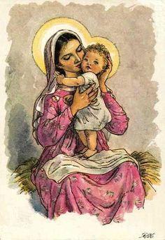 Old Czech Christmas Card Marie Fischerová Kvěchová Illustrator, Nostalgic Art, Blessed Mother Mary, Madonna And Child, Children Images, Mother And Child, Virgin Mary, Christmas Art, Vintage Art