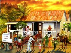 My dad's latest painting. Puerto Rican Christmas, Puerto Rico Pictures, Puerto Rico History, Jamaica History, Puerto Rican Culture, Caribbean Art, Tropical Art, Naive Art, Puerto Ricans
