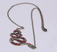 $1.10    44cm Snake Golden Crystals Necklace Sweater Chains Jewelry Vintage Charms