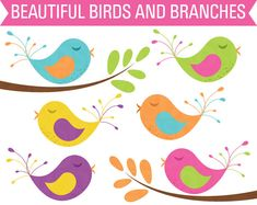 OFF Sale Clipart Birds and Tree Branches Commercial Use Clip Art Clipart Baby, Child Draw, Vogel Clipart, Blog Banner, Upper And Lowercase Letters, Clip Art, Paint Markers, Creative Sketches, Scrappy Quilts
