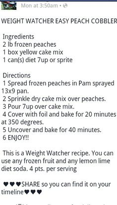 Weight watcher peach cobbler