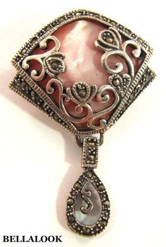 VINTAGE MARKED 925 STERLING SILVER WITH MARCASITE OVERLAY ON PINK MOP BROOCH PIN #FIGURAL