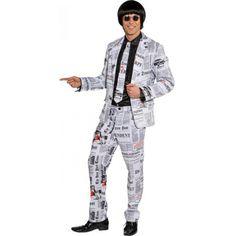 Business suit bestaande  uit een jas, broek en stropdas met krantenprint. Het is ongevoerd.